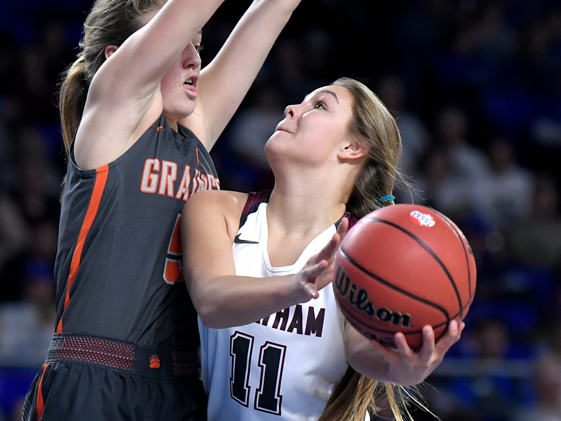 Cheatham County's Jesse Bumpus (11) shoots against Grainger's Tori Rutherford (5) during the quarter finals of TSSAA BlueCross Class AA girls basketball championship at MTSU's Murphy Center in Murfreesboro on Wednesday, March 6, 2019.