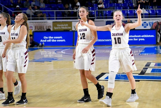 Cheatham County's Abbi Douglas (10) celebrates after her team beat Grainger during the quarter finals of TSSAA BlueCross Class AA girls basketball championship at MTSU's Murphy Center in Murfreesboro on Wednesday, March 6, 2019.