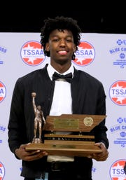 James Wiseman of Memphis East High School is presented the Class AAA Mr. Basketball trophy, on Tuesday, March 5, 2019, at Murphy Center in Murfreesboro, Tenn.