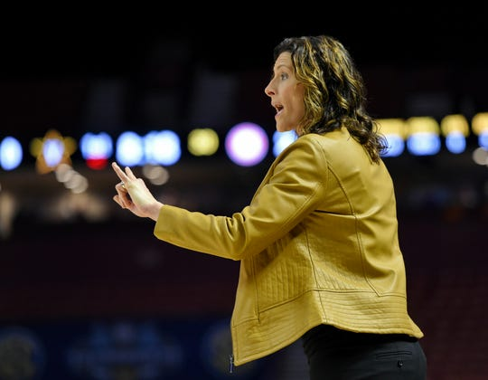Vanderbilt head coach Stephanie White calls a play during the first half of a women's Southeastern conference NCAA college basketball tournament game against Alabama, Wednesday, March 6, 2019, in Greenville, S.C. (AP Photo/Richard Shiro)