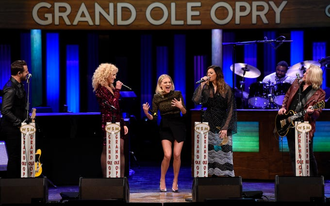 Kelsea Ballerini reacts as she is asked to join the Grand Ole Opry by the members of Little Big Town Tuesday, March 5, 2019 in Nashville, Tenn.