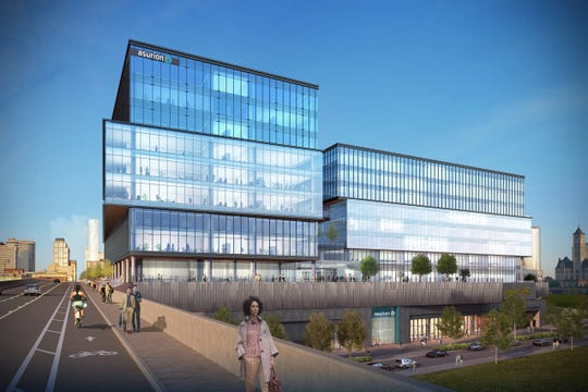 A rendering of Asurion's new consolidated headquarters, currently under construction in the Gulch in Nashville.