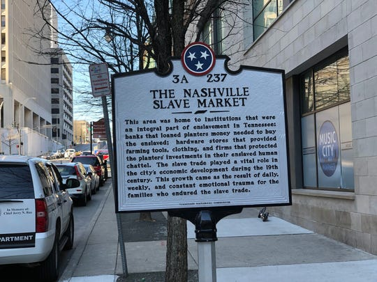 This historical marker, placed on Dec. 7, 2018, recognizes the location of the Nashville Slave Market of the 19th century.