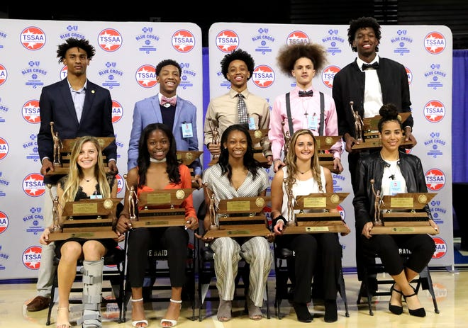 The TSSAA Mr. and Miss 2019 Basketball winners (Back row left to right) Keon Johnson of The Webb School (Bell-Buckle), Kennedy Chandler of Briarcrest Christian School, Ja'darius Harris of Peabody High School, KJ Johnson of Marshall County High School, and James Wiseman of Memphis East High School. (Front Row left) to right Casey Collier of Webb School of Knoxville, Dontavia Waggoner of Ensworth High School, Chloe Moore-McNeil of Greenfield High School, Gracee Dishman of Cumberland County High School and Madison Hayes of East Hamilton High School.