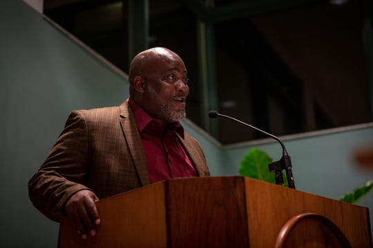 Desmond Meade, president of the Florida Rights Restoration Coalition, speaks at a criminal justice reform forum held at the Unitarian Universalist Congregation of Greater Naples in Naples on March 5, 2019. Meade was the keynote speaker at the event, focusing on the next steps for criminal justice reform in the state of Florida.