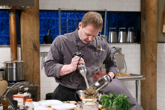 Chef Allen Fisher cooks with a dozen eggs, taquitos, frozen corn and home-grown basil during the appetizer round, as seen on Chopped, Season 39.