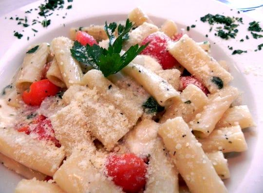 Rigatoni Per Tutti is made with fresh tomatoes, garlic, onions, oregano and fresh mozzarella at Gino's Tratorria Per Tutti in North Naples.