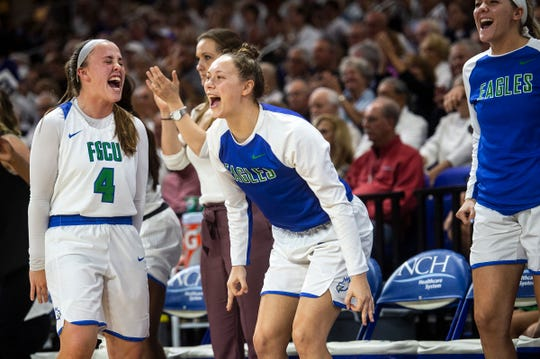 Florida Gulf Coast University's bench celebrates during their game with Stetson at Alico Arena on Tuesday.