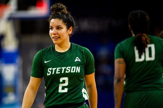 Stetson's McKenna Beach, a Cape Coral graduate, reacts to a call during a game against FGCU at Alico Arena in Fort Myers, Fla., on Tuesday, March 5, 2019.