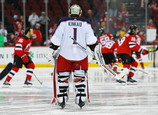 Mar 5, 2019; Newark, NJ, USA; Current Columbus Blue Jackets and former New Jersey Devils goaltender Keith Kinkaid (1) during warmup before the game at Prudential Center.
