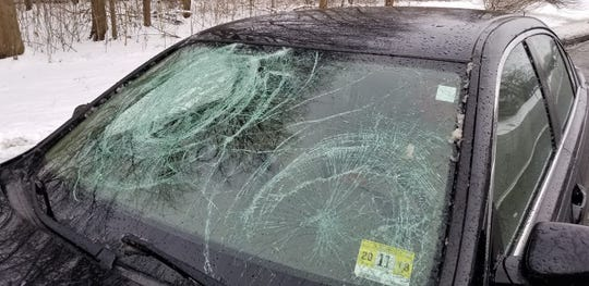 Ice fell on wind shield from a snow plow plowing an overpass above the Garden State Parkway, a Bloomfield man said. This is the ice that struck a car that was also on highway.  The incident happened March 2.