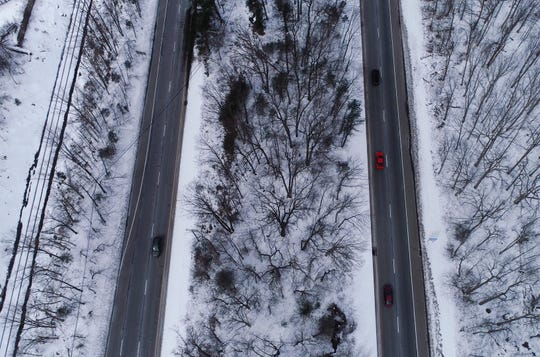 Aerial view of Route 23 north and south bound lanes on Wednesday, March 6, 2019, in Newfoundland.