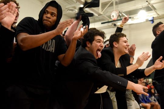 Ramapo High School defeated Teaneck High School 65-40 in the NJSIAA North 1, Group 3 boys basketball final on Tuesday, March 5, 2019 in Franklin Lakes. Ramapo fans cheer on their team.