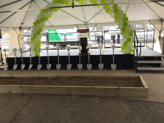 A ceremonial ground breaking was held Wednesday at the site of the future Quest Diagnostics laboratory site in Clifton. Here the shovels and hard hats are lined up before the festivities began.