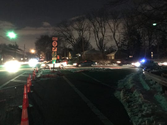 Traffic from Route 3 west was diverted to the Grove Street exit Tuesday night, March 5, 2019. The entrance to Route 3 west on Grove Street was blocked by cones.