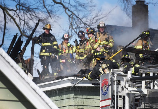 Ramsey firefighters respond to a two-alarm fire at a two-family house located on School Street in Ramsey  on 03/06/19.