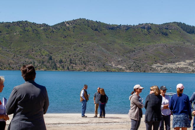 People involved in the Animas-La Plata Project attend a dedication ceremony, Monday, May 14, 2018 at Lake Nighthorse in Durango, Colorado.