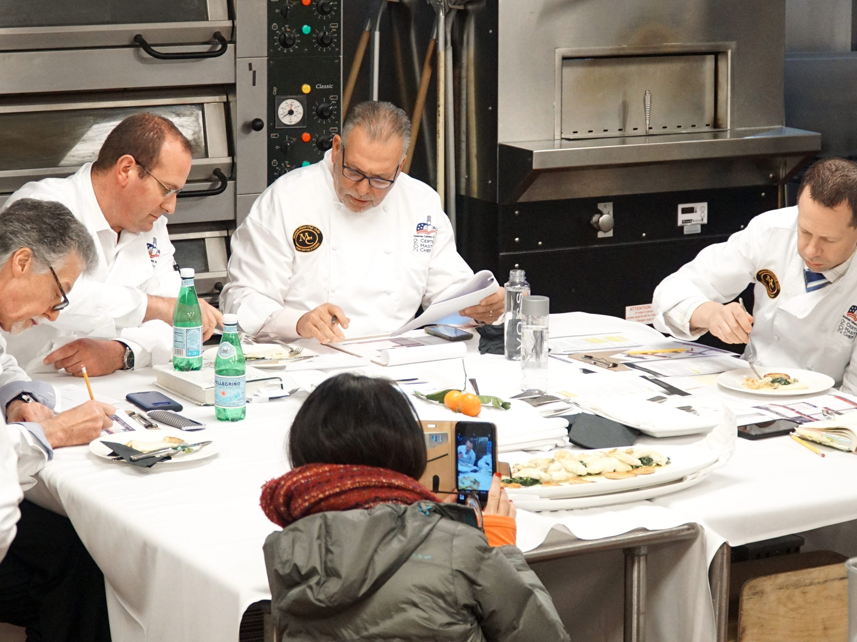 Chefs comandeered a room at the Vista Tech Center's kitchen to try Timothy Bucci's creations.