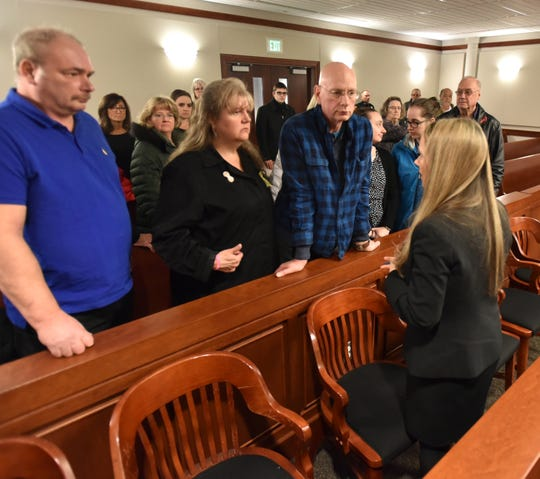Special prosecutor Jaimie Powell Horowitz speaks to the family of Danielle Stislicki after the video arraignment of Floyd Galloway - who was charged with the First Degree murder of Danielle on March 6.