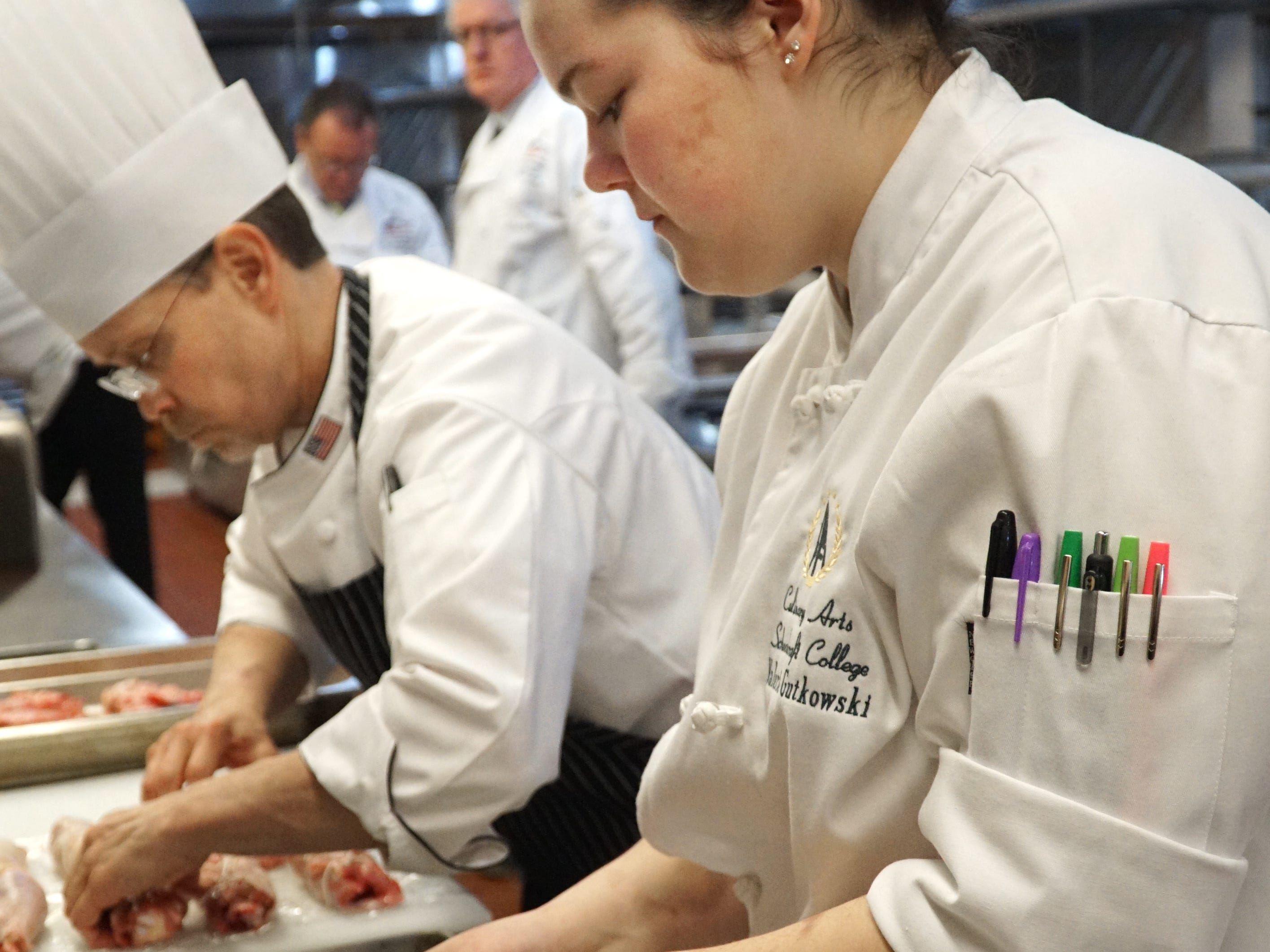 Bucci was assisted by Schoolcraft culinary student Valerie Gutowski during his exam.