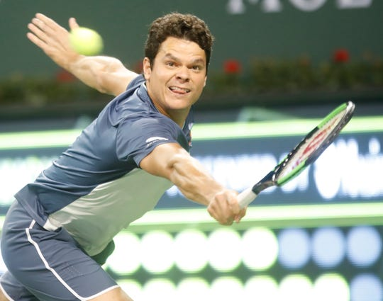 Milos Raonic plays at the Eisenhower Cup during the 2019 BNP Paribas Open at Indian Wells Tennis Gardens on March 5, 2019.
