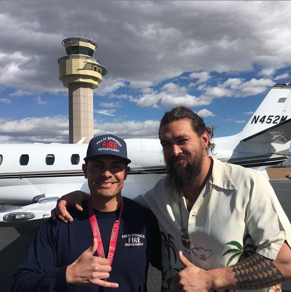 'Game of Thrones' star Jason Momoa touches down in Palm Springs after plane fire scare