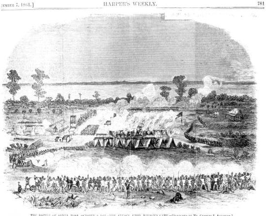 A Harper's Weekly rendering from 1861 of the Battle of Santa Rosa Island.