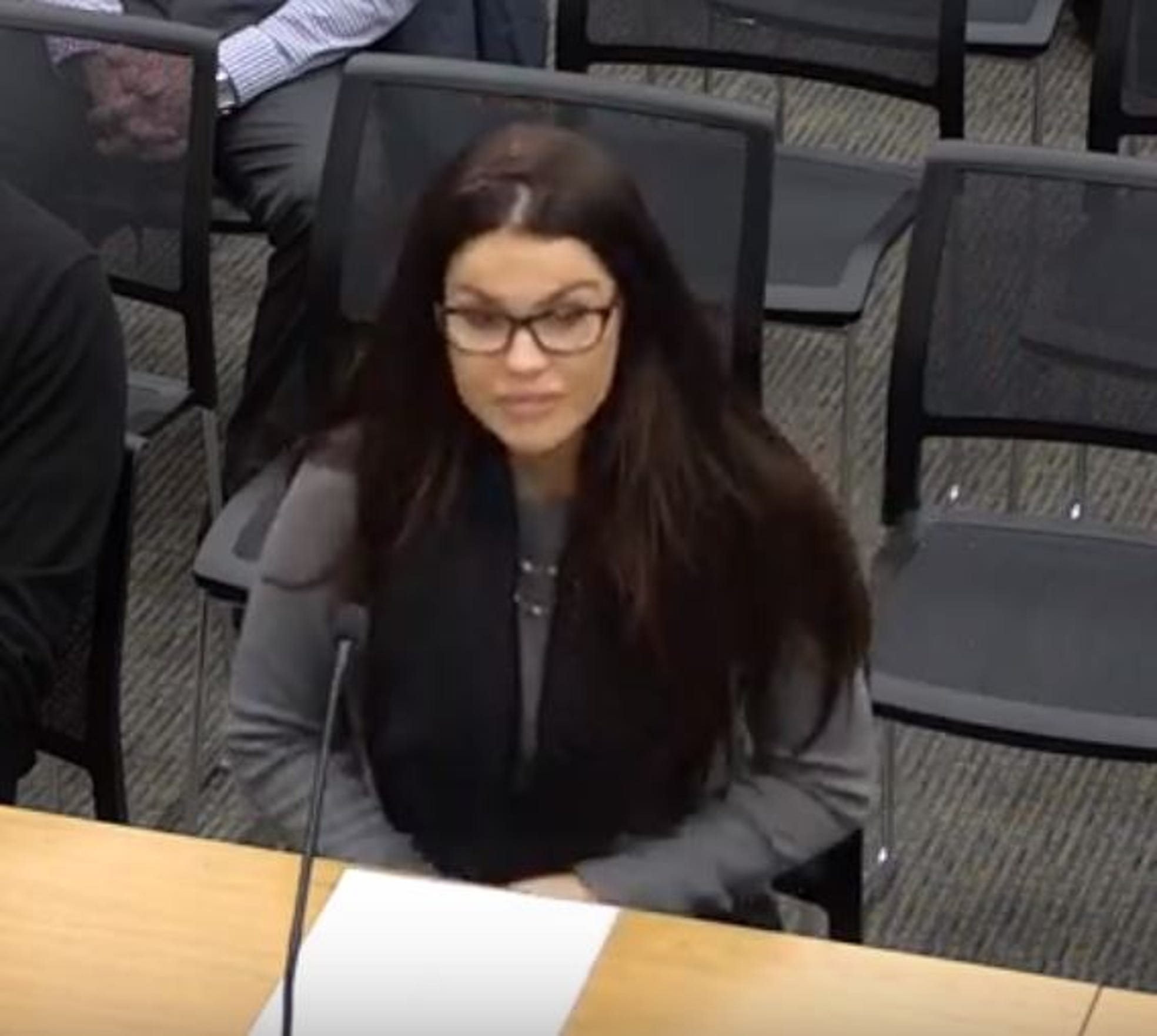 A video shows Tawny Costa at a Foxborough, Massachusetts, Board of Selectmen meeting on Jan. 23, 2018.