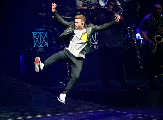 Justin Timberlake performs at Talking Stick Resort Arena during The Man of the Woods Tour in Phoenix, March 5, 2019.