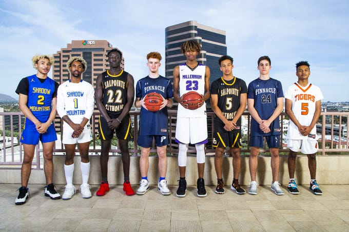 The 2018-19 azcentral sports All-Arizona boys basketball team poses at the Republic Media Building in Phoenix, Monday, March 4, 2019.