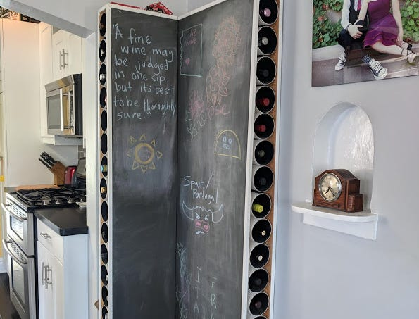 Owen and Miller used PVC pipe to help them build a custom wine rack.
