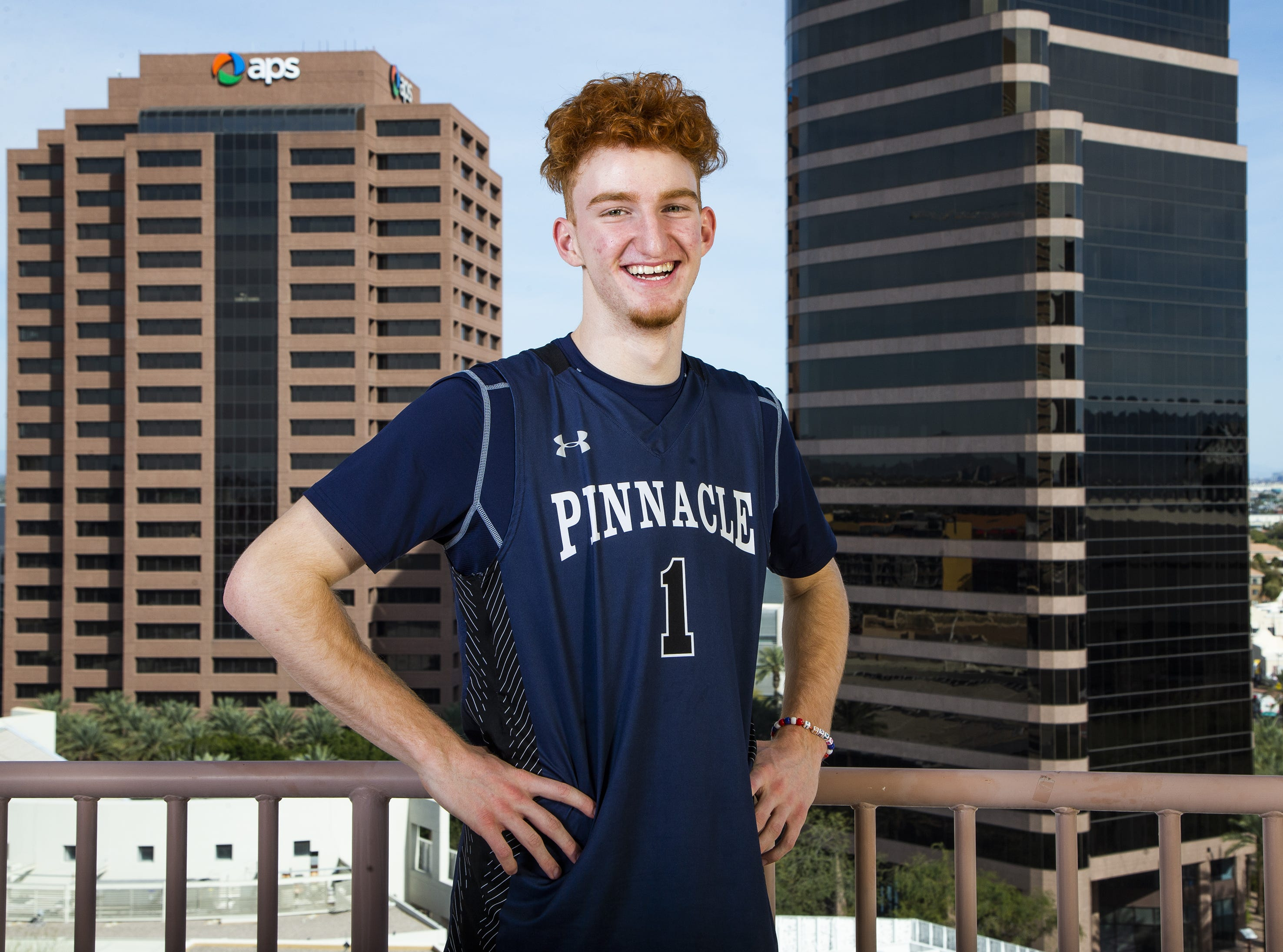Nico Mannion of Phoenix Pinnacle poses at All-Arizona boys basketball team at the Republic Media Building in Phoenix, Monday, March 4, 2019.