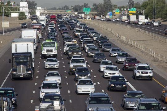 Mark Henle/The Republic Widening portions of Interstate 10 is among the items on Gov. Doug Ducey?s wish list of infrastructure improvements for Arizona. Eastbound Interstate 10 morning traffic near 51st Avenue heads toward downtown Phoenix. I-10 is jammed every day as residents commute to jobs outside the West Valley.