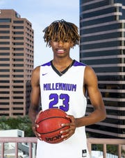 DaRon Holmes of Goodyear Millennium poses for All-Arizona boys basketball team photo at the Republic Media Building in Phoenix, Monday, March 4, 2019.
