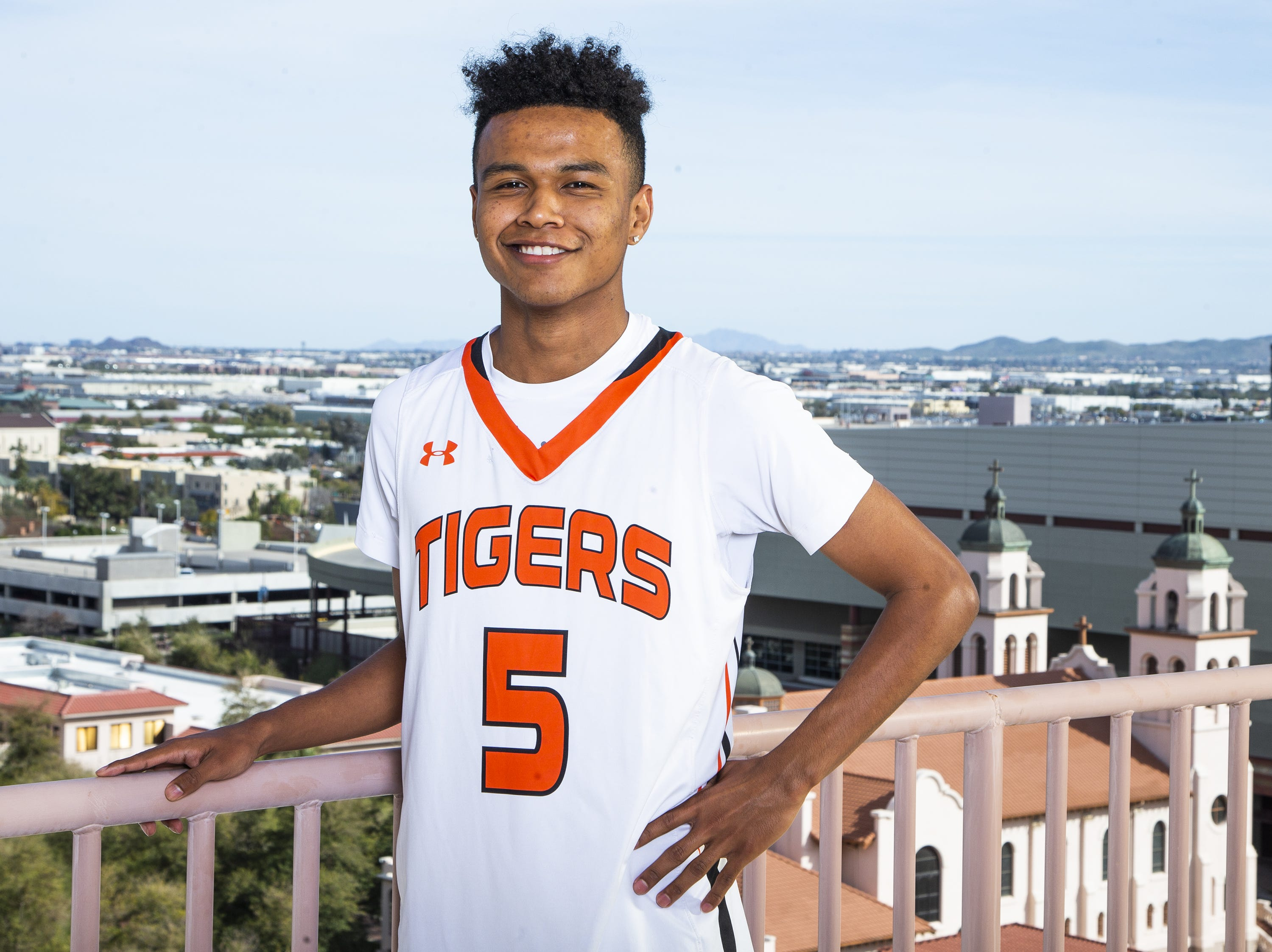 B.J. Burries of Globe poses at All-Arizona boys basketball team for the Republic Media Building in Phoenix, Monday, March 4, 2019.