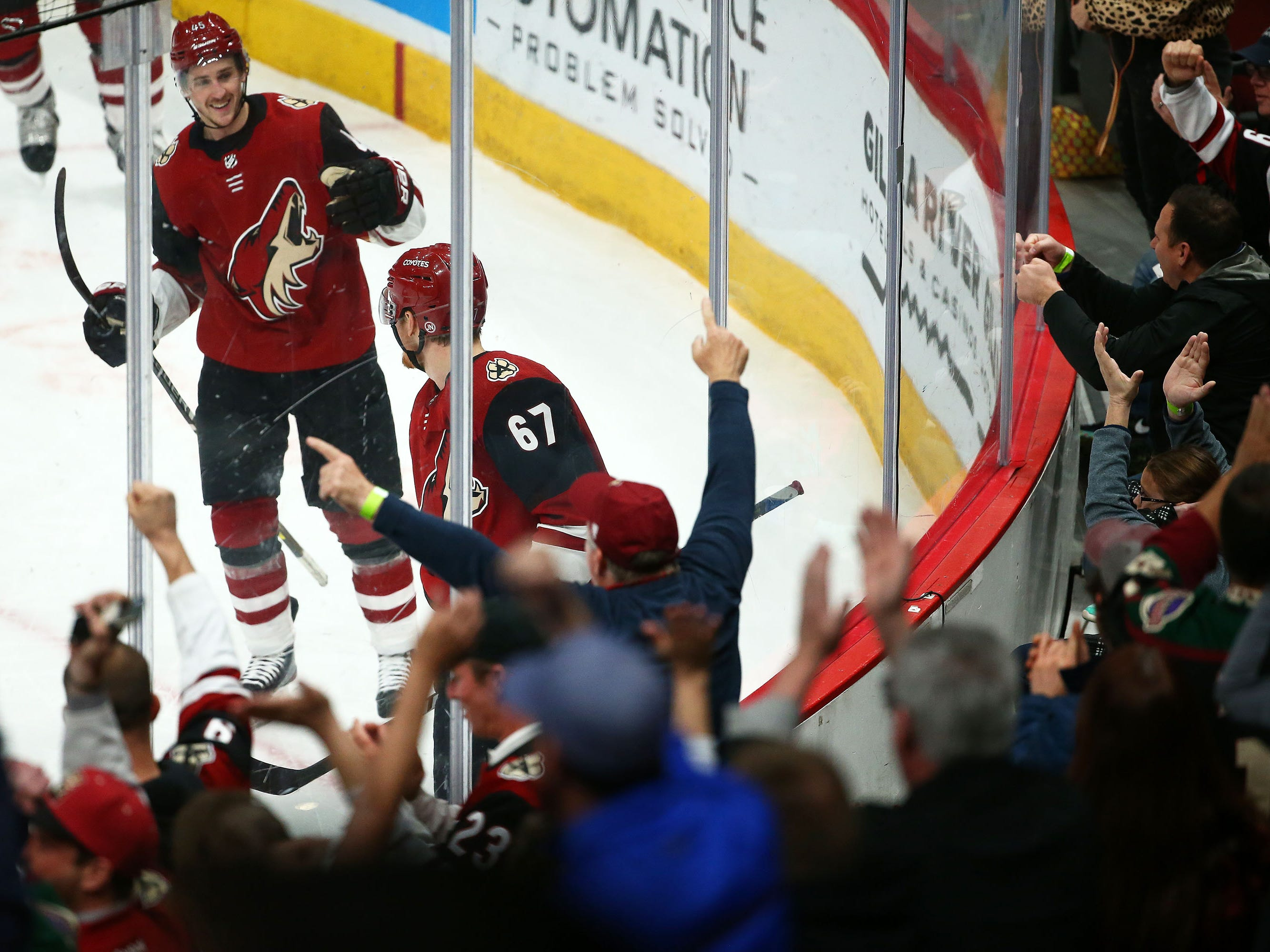 Arizona Coyotes left wing Lawson Crouse (67) celebrates his goal against the Anaheim Ducks in the first period on Mar. 5, 2019, at Gila River Arena in Glendale, Ariz.
