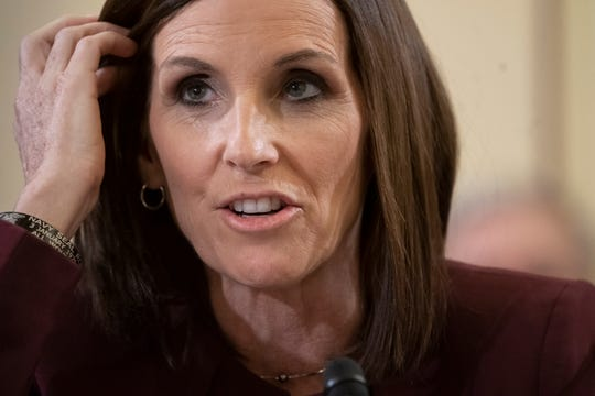 During a hearing by the Senate Armed Services Subcommittee on Personnel about prevention and response to sexual assault in the military, Sen. Martha McSally, R-Ariz., recounts her own experience while serving as a colonel in the Air Force, on Capitol Hill in Washington, Wednesday, March 6, 2019.