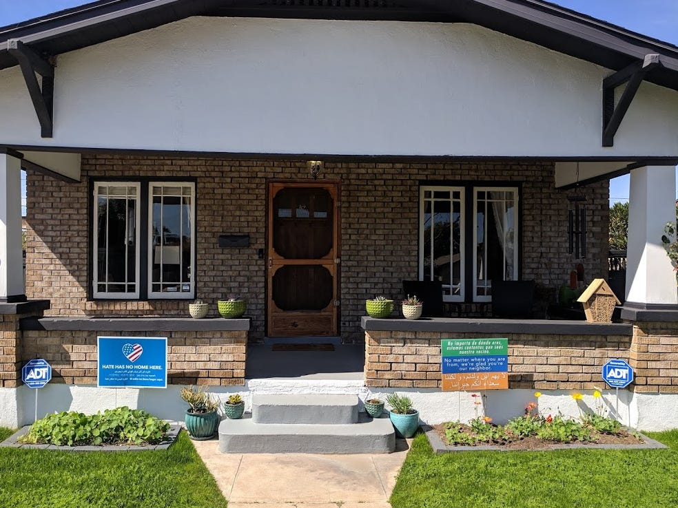 The front of the couple's home includes a spacious front porch, as is customary with the neighborhood's historic bungalows.
