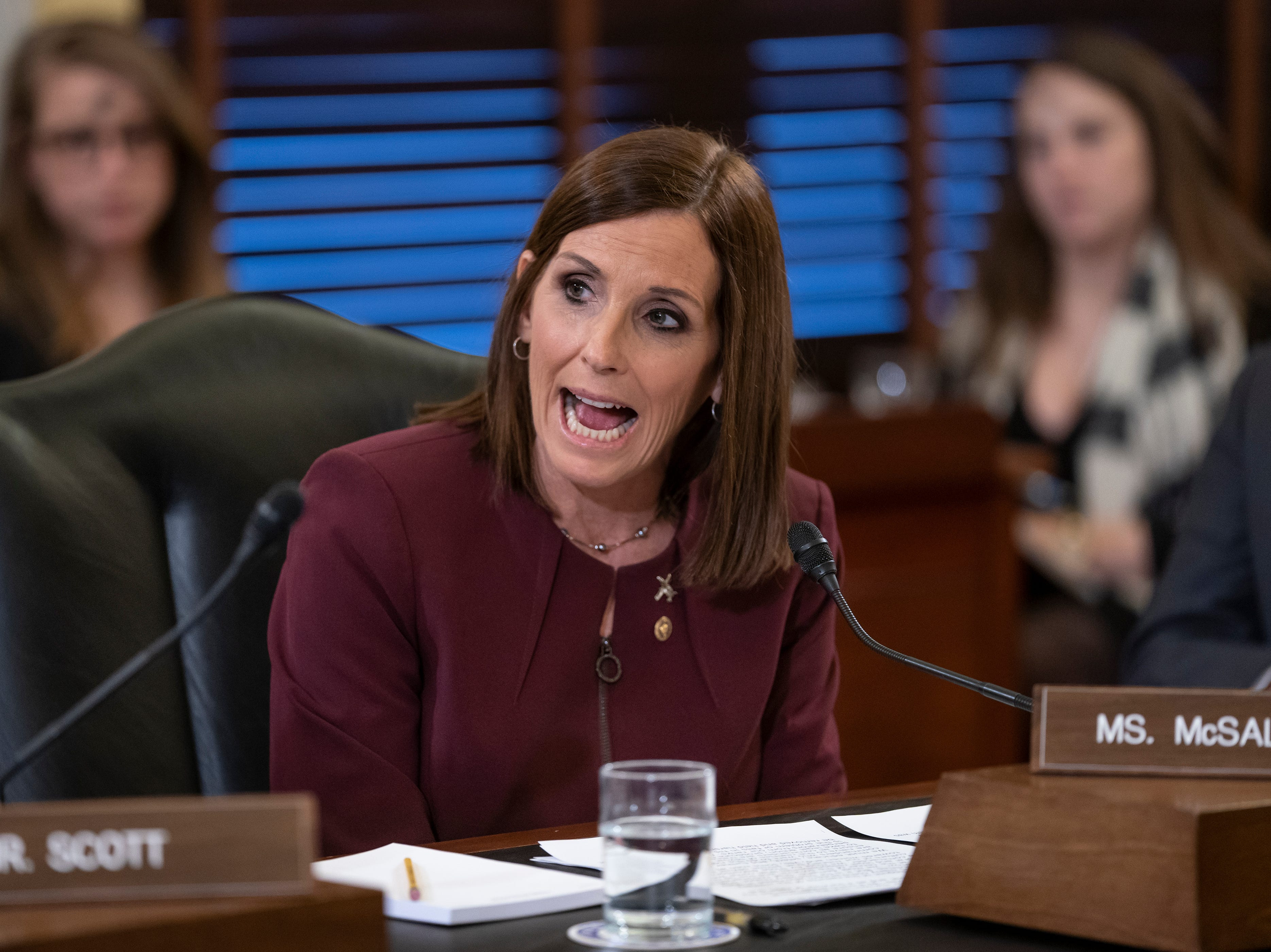 During a hearing by the Senate Armed Services Subcommittee on Personnel about prevention and response to sexual assault in the military, Sen. Martha McSally, R-Ariz., recounts her own experience while serving as a colonel in the Air Force, on Capitol Hill in Washington, Wednesday, March 6, 2019. McSally, the first female fighter pilot to fly in combat, says she was raped in the Air Force by superior officer.