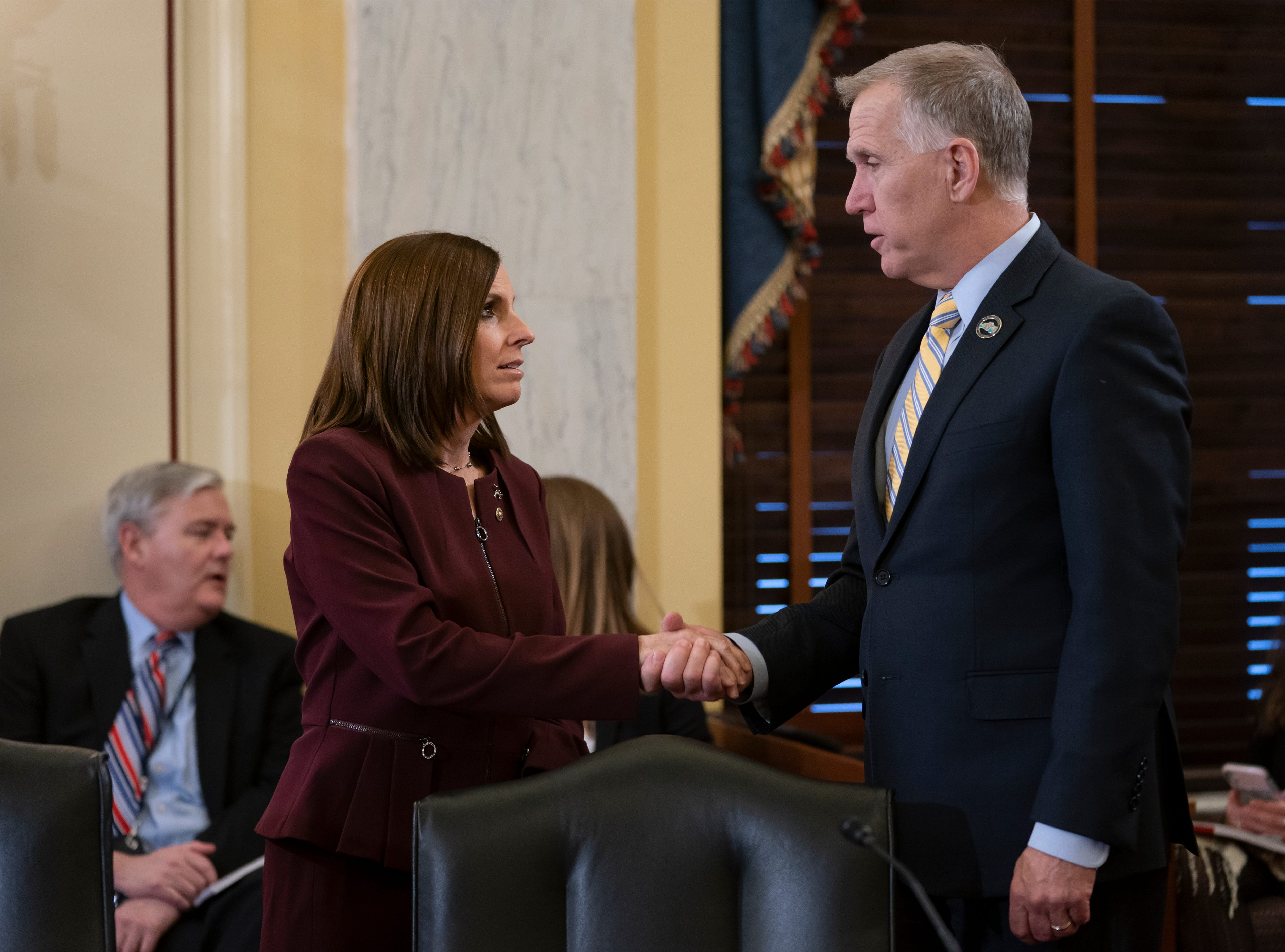 Sen. Martha McSally, R-Ariz., left, is greeted by Sen. Thom Tillis, R-N.C., chairman of the Senate Armed Services Subcommittee on Personnel, as she prepares to testify about her experience with sexual assault while serving as a colonel in the Air Force, on Capitol Hill in Washington, Wednesday, March 6, 2019. McSally, the first female fighter pilot to fly in combat, says she was raped in the Air Force by superior officer. (AP Photo/J. Scott Applewhite)