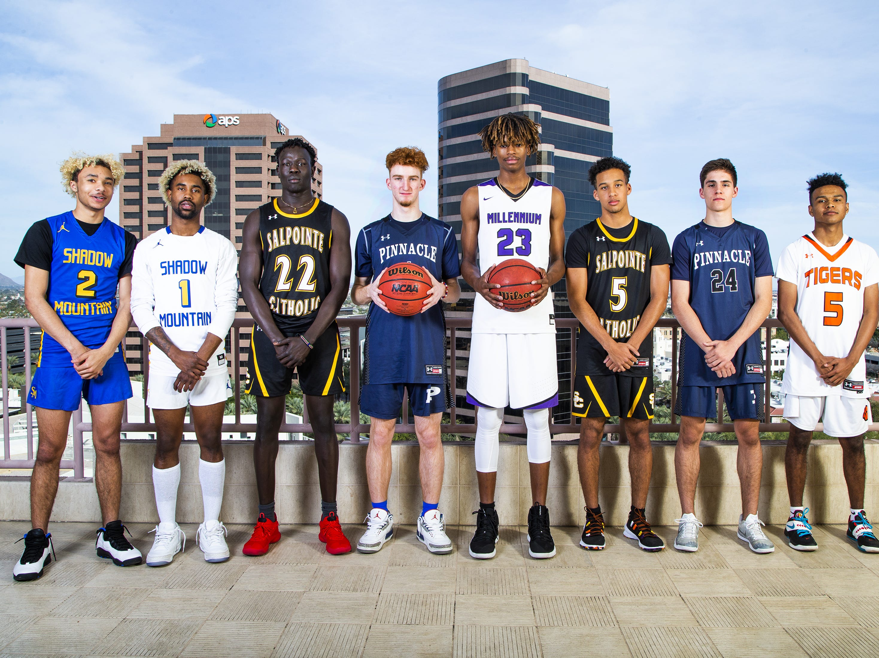 The 2018-19 All-Arizona boys basketball team poses at the Republic Media Building in Phoenix, Monday, March 4, 2019.