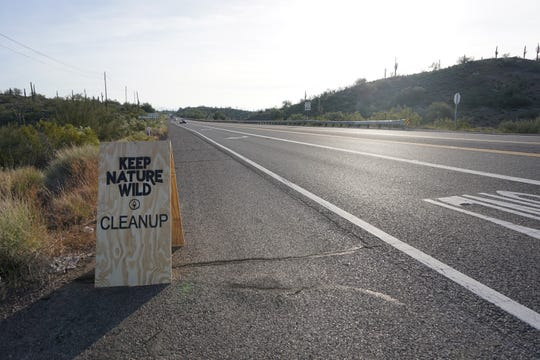 Keep Nature Wild welcome sign directing drivers into the park on the corner of North Castle Hot Springs Road and Arizona 74 on Nov. 23, 2018.