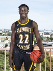 Majok Deng of Salpointe Catholic poses photo for All-Arizona boys basketball team member photo at the Republic Media Building in Phoenix, Monday, March 4, 2019.