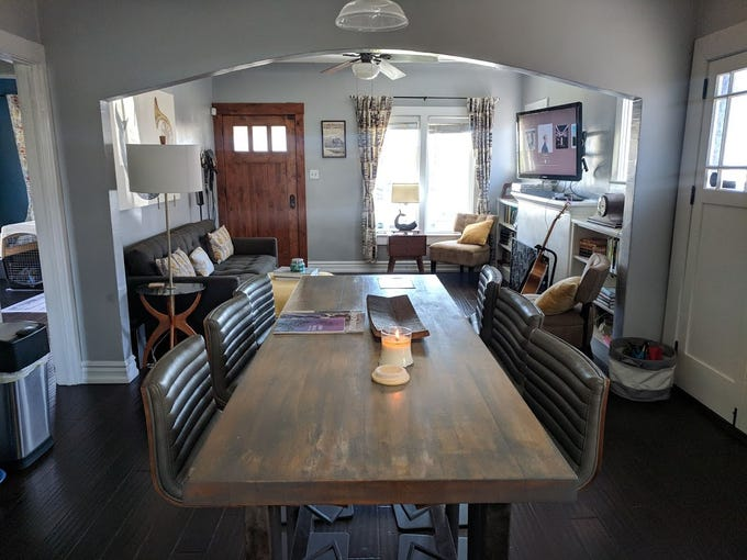 The home's kitchen is anchored by an old restaurant high-top table that Owen and Miller refinished.