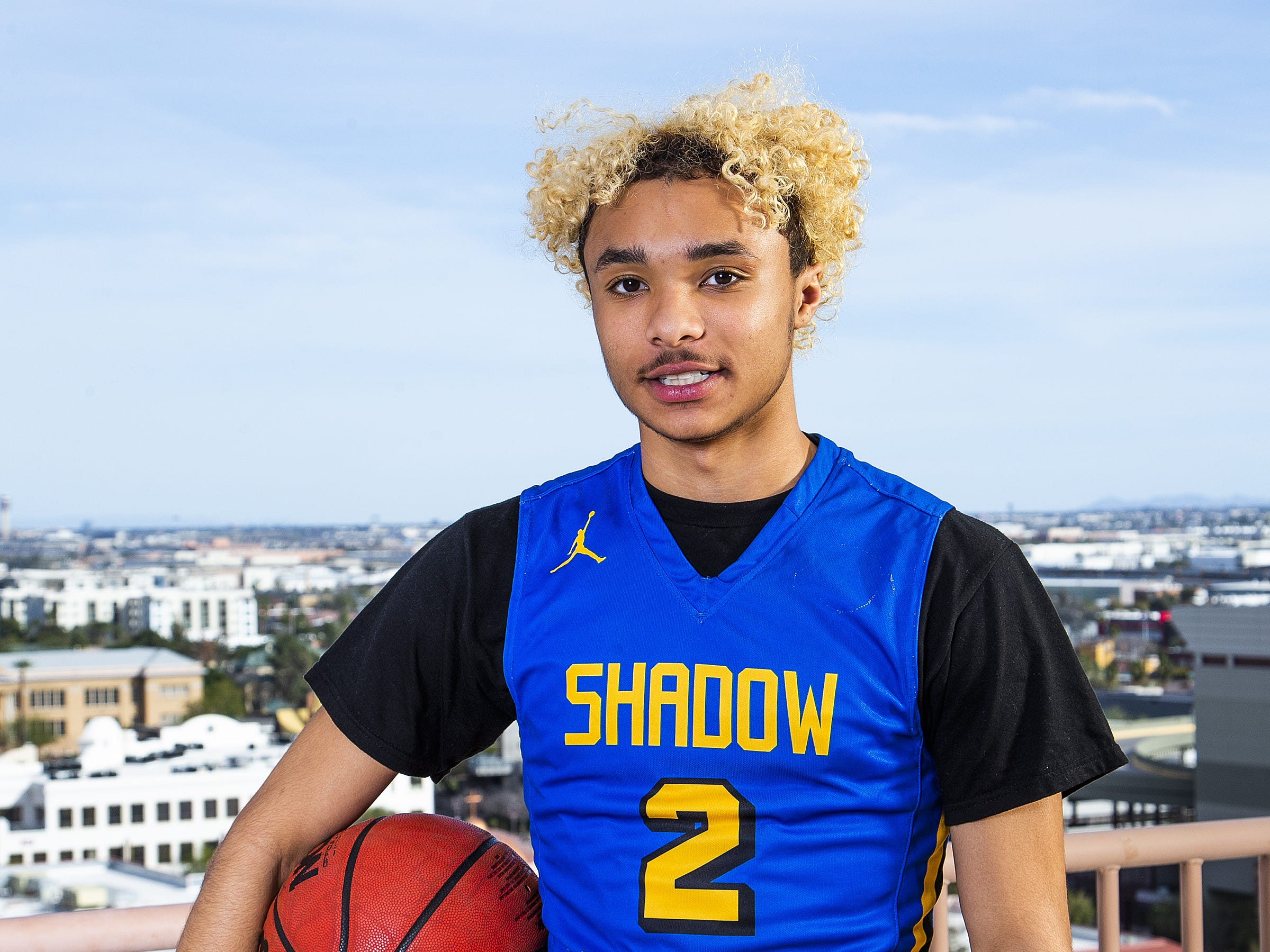 Jaelen House of Phoenix Shadow Mountain poses for All-Arizona boys basketball team member photo at the Republic Media Building in Phoenix, Monday, March 4, 2019.