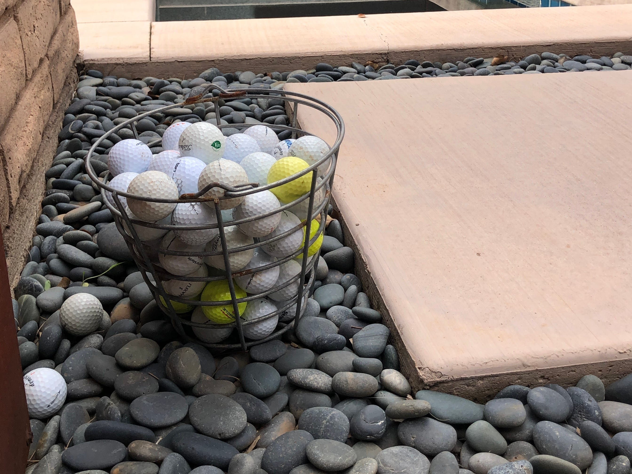 Vierra corralled a few golf balls that ended up in his pool and spa from the adjacent Shalimar Golf Course.