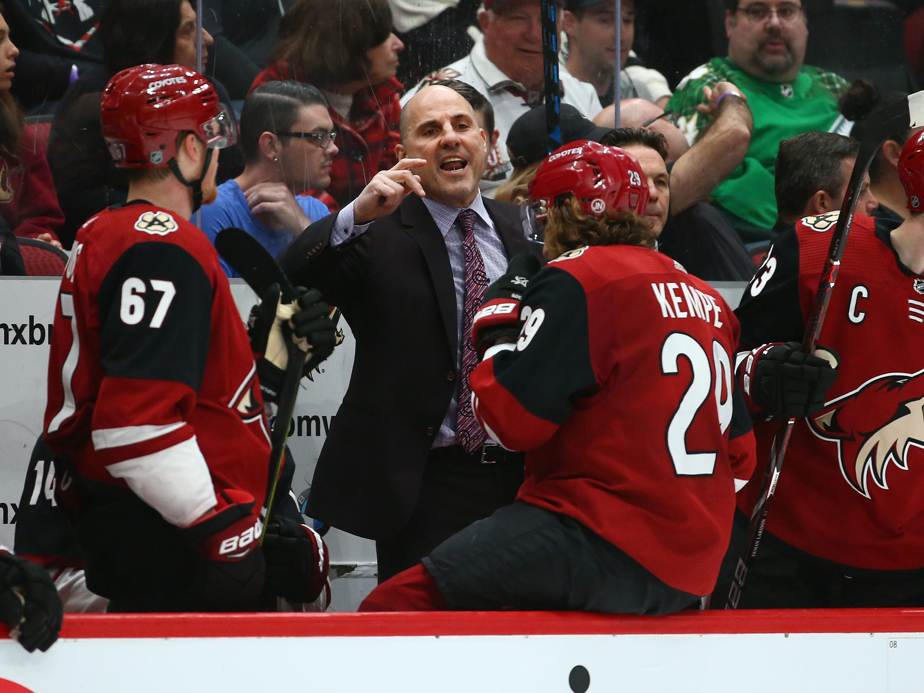 Arizona Coyotes head coach Rick Tocchet reacts against the Anaheim Ducks in the second period on Mar. 5, 2019, at Gila River Arena in Glendale, Ariz.