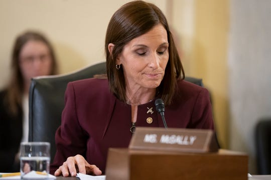 During a hearing by the Senate Armed Services Subcommittee on Personnel about prevention and response to sexual assault in the military, Sen. Martha McSally, R-Ariz., testifies she was raped in the Air Force by a superior officer.