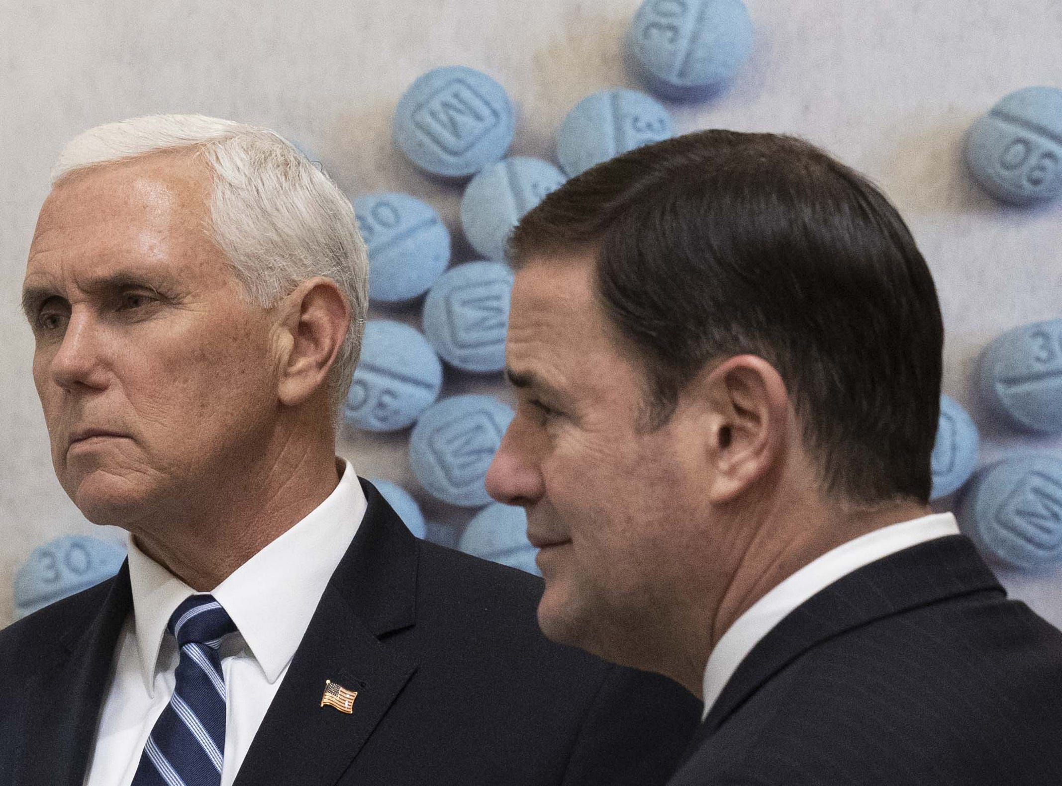 Vice President Mike Pence and Gov. Doug Ducey tour a U.S. Drug Enforcement Administration facility in the Phoenix area on March 5, 2019.