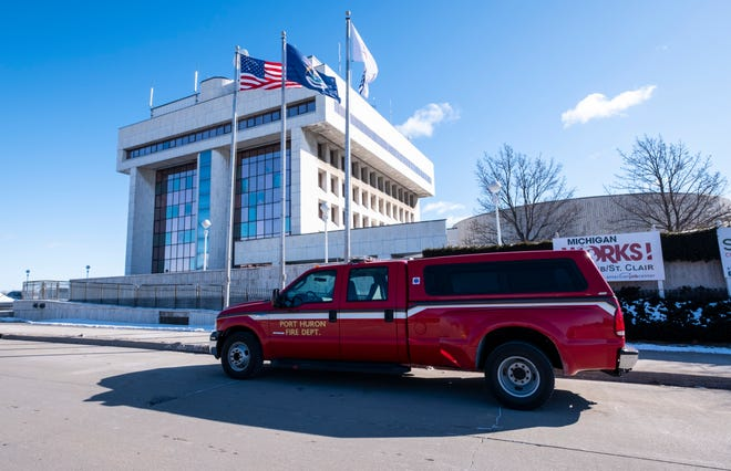 A Port Huron firetruck is parked on the curb outside of the Municipal Office Center Wednesday, March 6, 2019 in Port Huron.